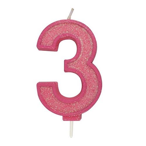 Afbeelding van Culpitt Cijferkaars #3 Roze met Glitter