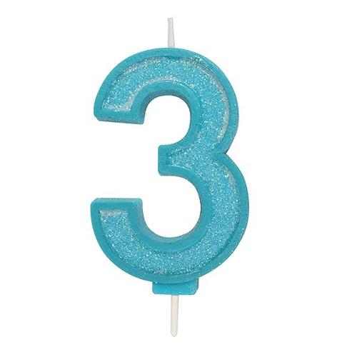 Afbeelding van Culpitt Cijferkaars #3 Blauw met Glitter