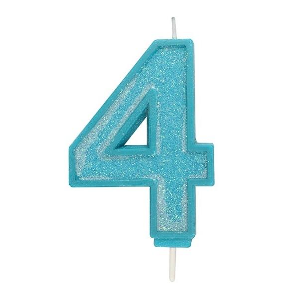 Afbeelding van Culpitt Cijferkaars #4 Blauw met Glitter
