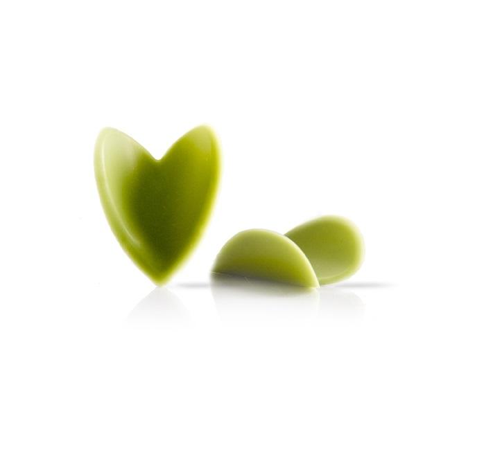 Afbeelding van Dobla Chocoladedecoratie Curvy Heart Groen (144 stuks)