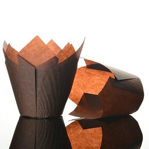 Afbeelding van Culpitt baking cups tulp donkerbruin 85 mm (50 stuks)