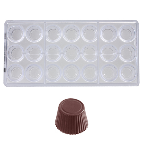 Afbeelding van Bonbonvorm Chocolate World Cuvette Rond (21x) 30x19mm