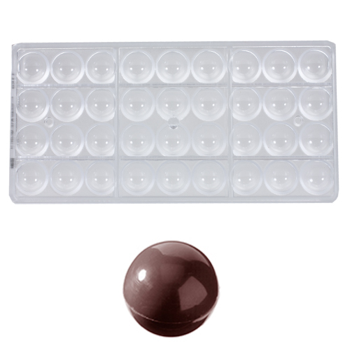 Afbeelding van Bonbonvorm Chocolate World Bol (36x) Ø25mm