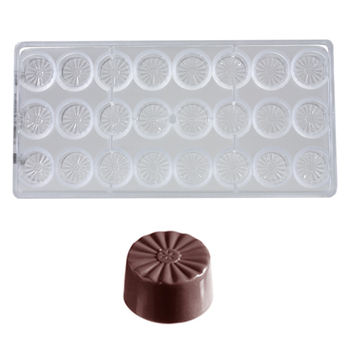Afbeelding van Bonbonvorm Chocolate World French Rond (24x) Ø28x15 mm
