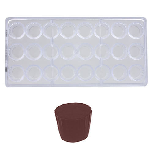 Afbeelding van Bonbonvorm Chocolate World Cuvet Rond (24x) 28,2x20,8 mm